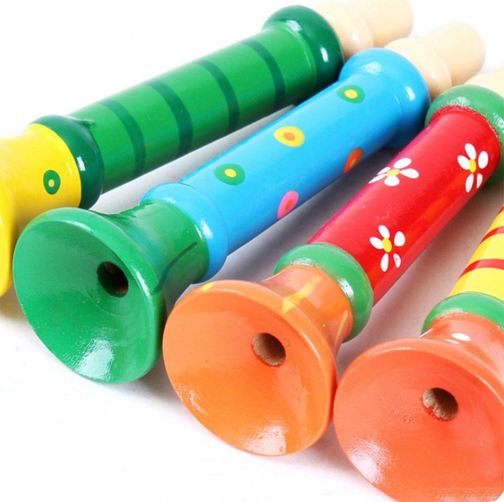 Snaro Bois Jouet Instrument Musical Trompette Mignonne Instruments de Musique Jouets pour Enfants B/éb/é 1pcs Couleur Style Al/éatoire
