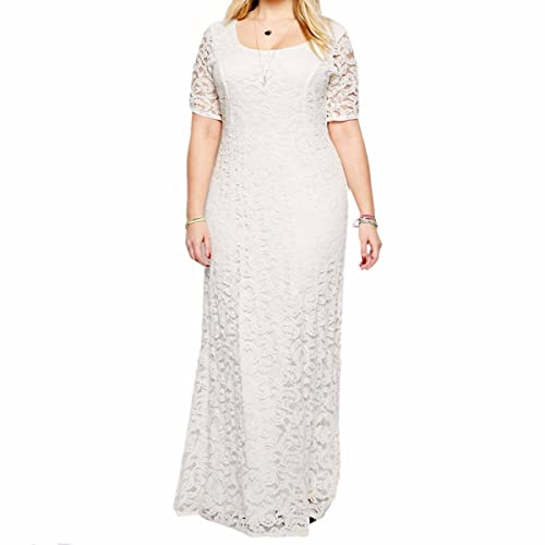 Samtree Womens Plus Size Full Lace Maxi Dress for Bridesmaid Wedding Cocktail Party