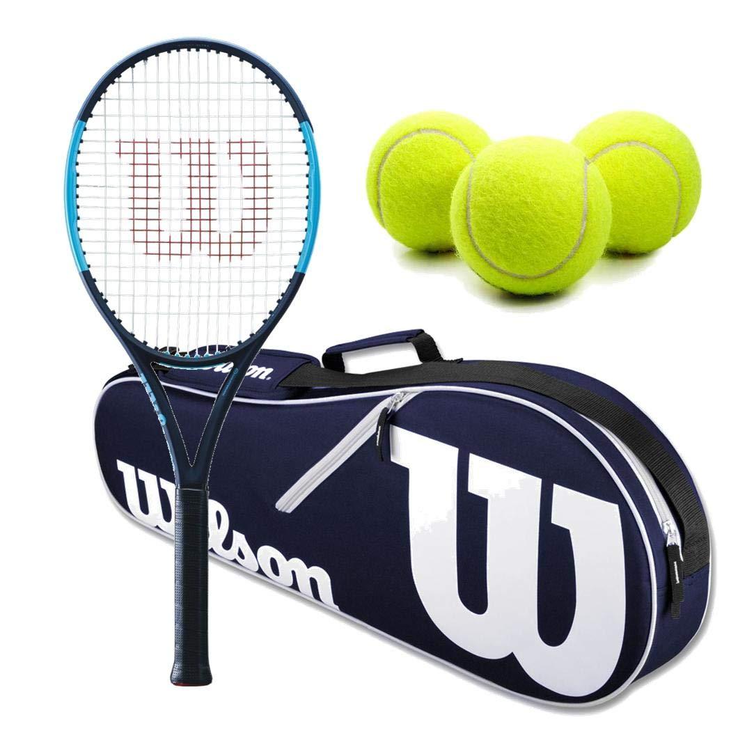 Wilson Ultra 100UL 軽量 ブラック/ブルー テニスラケットセットまたはキット ネイビー/ホワイト ウィルソン アドバンテージ テニスラケットバッグ2個とテニスボール3個入り1缶 4 3/8 Inch Grip  B07ND44Z5R