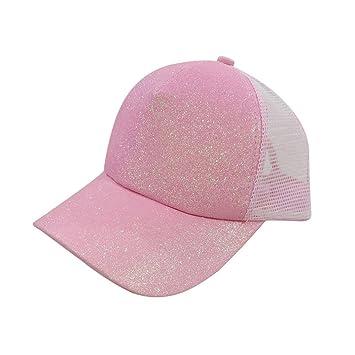 ed576097ecb19 Gaddrt Femmes queue de cheval casquette de baseball paillettes brillant  désordre Snapback chapeau casquettes soleil (