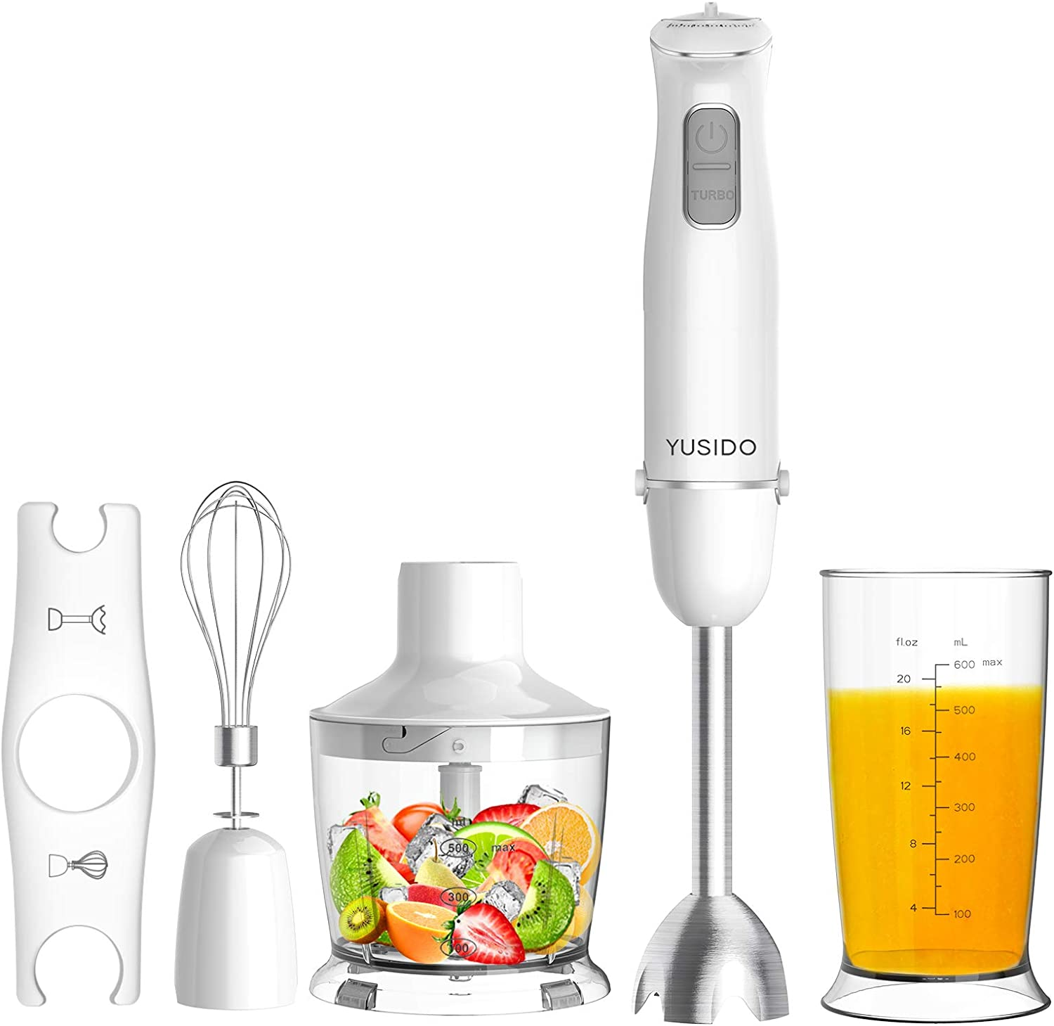 Yusido Immersion Multi-Purpose Hand Blender 800 Watt 8-Speed with Titanium-Plated Blades and Food Grinder Bowl (White)