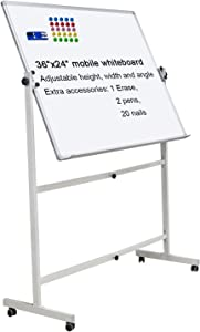 """Mobile Dry Erase Board Magnetic Whiteboard on Wheels (Aluminium Frame) 36""""x24"""" Portable White boards with Rolling Stand for Classroom, Office, Home"""