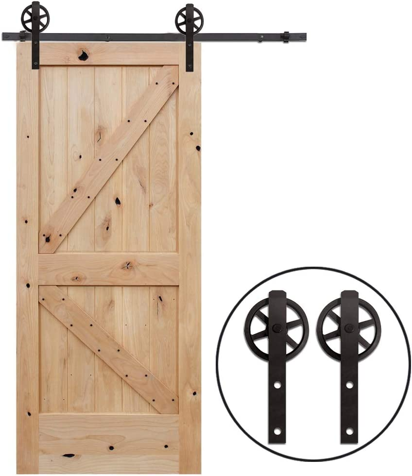 7.5FT//228cm Sliding Barn Wood Door Hardware Closet Track Kit Single door Portes coulissantes Mat/ériel Trousse Unique patin /à roulettes