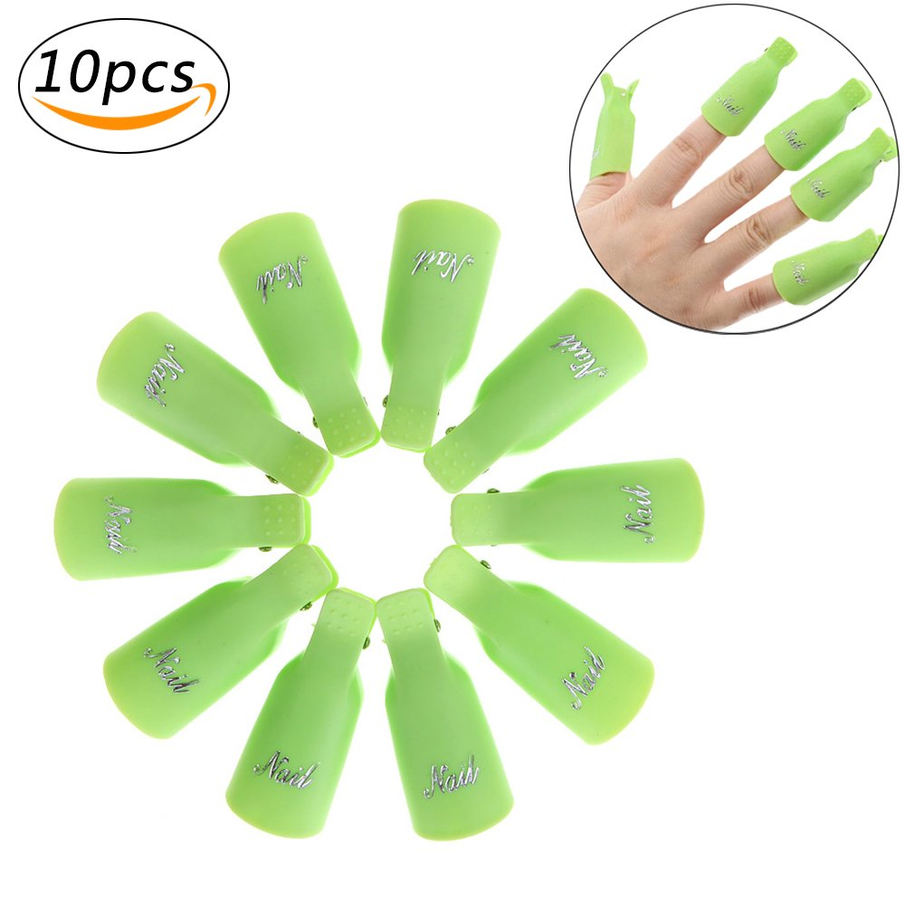 Plastic Nail Clip Cap Reusable Polish Remover Wrap Nail Tool Nail Art Accessories for Women Nail Beauty (10pcs, Green) Ronoa