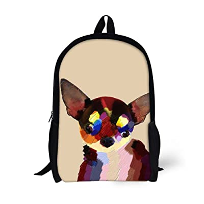 Showudesigns Stylish Animal Dog Backpack for High School Student 15inch Book Bag