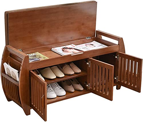 Bamboo Shoe Bench Rack with Removable Cushion, Hidden Storage Compartment, Side Drawer, Entryway Shoe Storage Organizer Shoe Cabinet for Hallway Entryway 40.2 x 12.6 x 18.3 inch