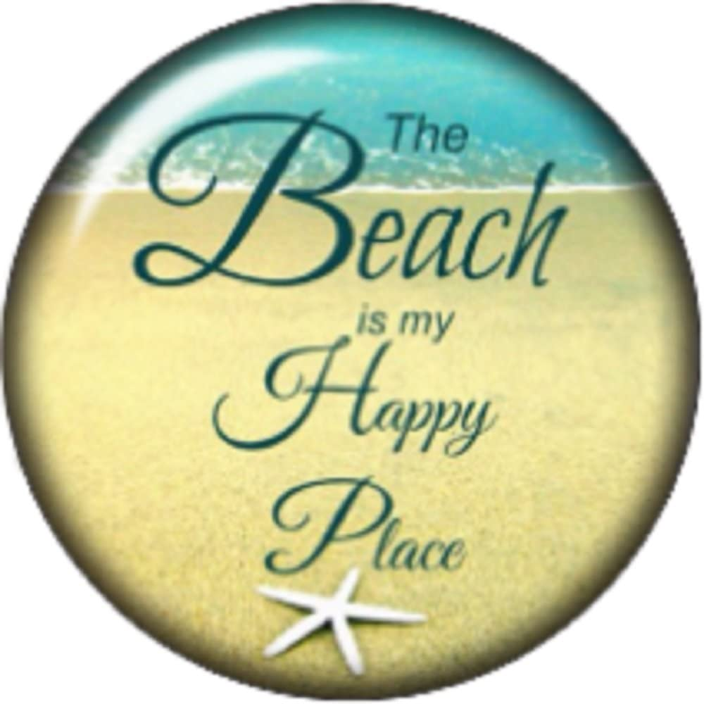 Snap button The beach is my happy place 18mm charm chunk interchangeable