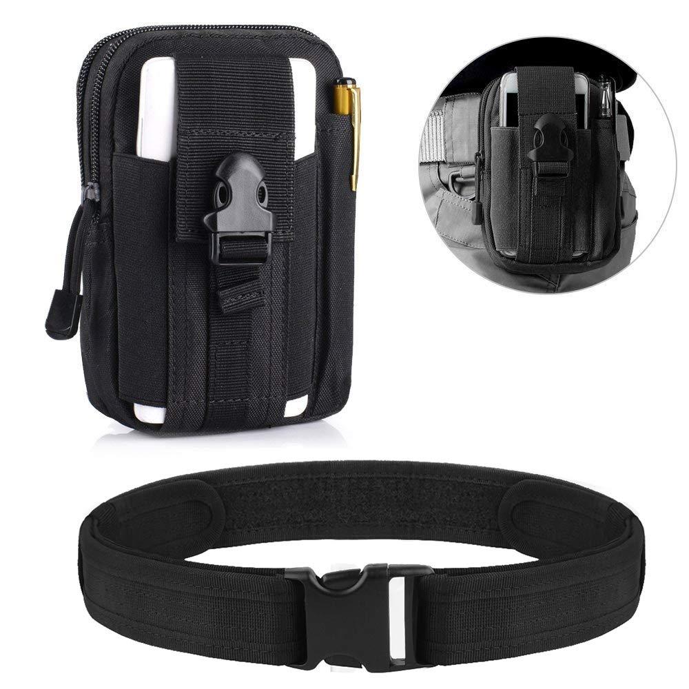 airsson cinturón táctico 1,5utilidad cinturón ajustable de Rescate Combat Policía cintura cinturón con hebilla de liberación rápida de carga longitud de Nylon en 51,1/130cm de caza deportes al aire libre, Belt + Pouch