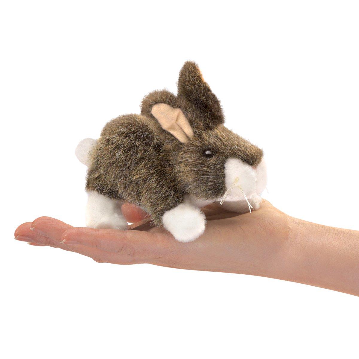 Folkmanis Mini Cottontail Rabbit Finger Puppet, One Size, Multicolor 2772