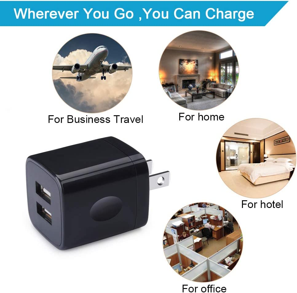 USB Wall Charger Charger Adapter 5Pack 2.1A Quick Dual Port Plug Charging Block Box Charger Cube Compatible for iPhone XS Max////X//8//7//6//6s Samsung Galaxy S10e S10 S9 S8 Plus//S7 S6// Note 9//8 LG G8 G7