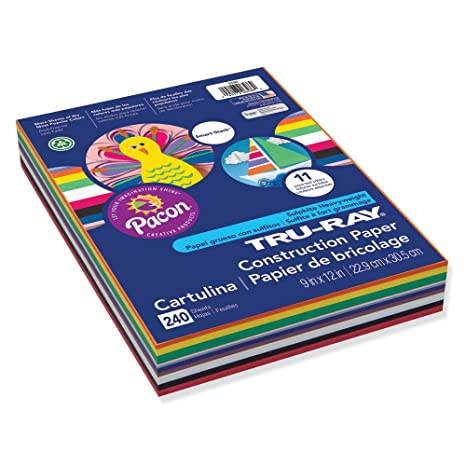 Tru-Ray P6586 Construction Paper Smart-Stack 240 Sheets 9 x 12 11 Assorted Colors