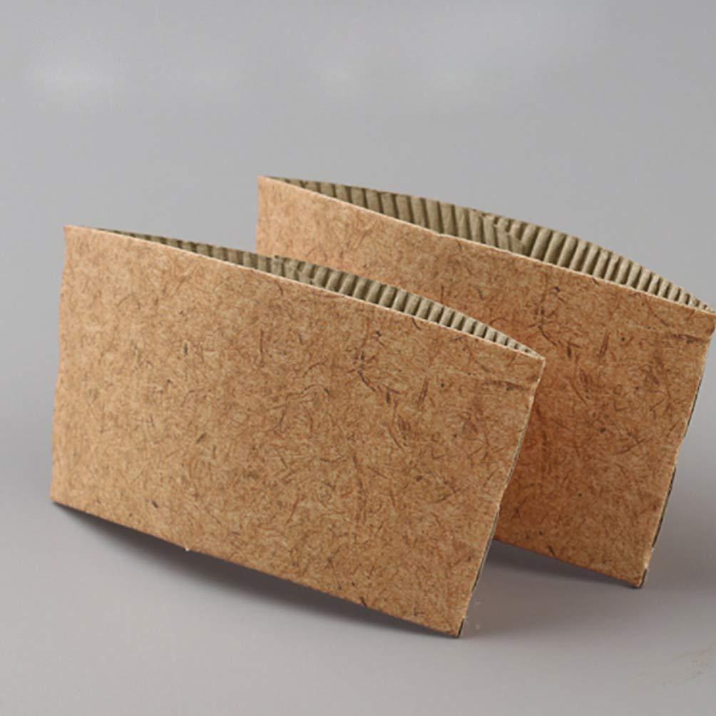 UPKOCH 50pcs Mangas de Taza Desechables Mangas de Taza de caf/é Protectora Corrugado Taza Mangas para 8 oz