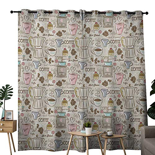 - NUOMANAN Grommet Curtains Modern,Coffee Time Vintage Espresso Machine Cupcakes Beans Cute Design,Beige Pale Pink and Umber,Blackout Draperies for Bedroom Window 54