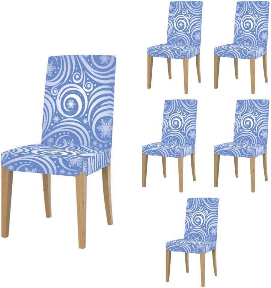 Super Fit Stretch Jacquard Removable Washable Short Dining Chair Covers Seat Slipcover for Christmas,Dining Room,Ceremony,Banquet Wedding Party 428.Swirl of Silver on Blue,Christmas Pattern,Modern,c