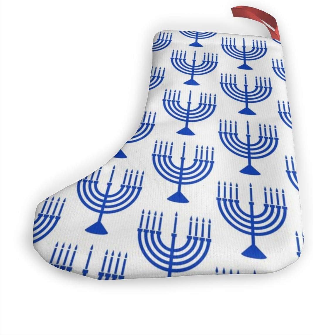 Cocoal-ltd Lot de 2 Chaussettes de No/ël Motif Menorah Hanoucca Bleu sur Blanc 25,4 cm