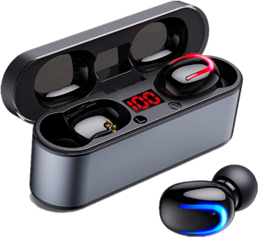 COOLEAD Auriculares Bluetooth, Wireless Headphones Bluetooth, HiFi Mini Estéreo In-Ear Auriculares Bluetooth Deportivos con Caja de Carga de 2500mAh Portátil Y Micrófono Integrado
