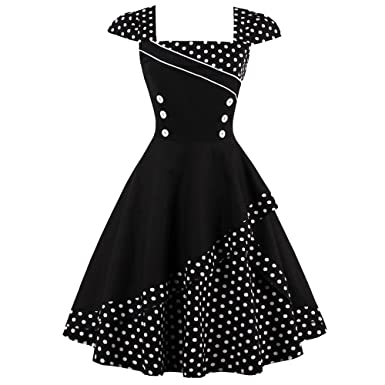 90262f0b12a47 Molif Women Vintage Dress Rockabilly Robe Vestidos 50S 60S Bown Gown Polka  Dot Party Dresses as