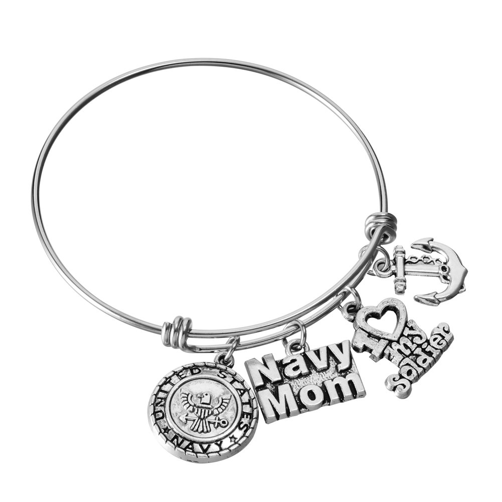 US United States Navy Mom Bracelet Expandable Wire Bangle I Love My Sailor Charm Birthday Jewelry Gifts for Women