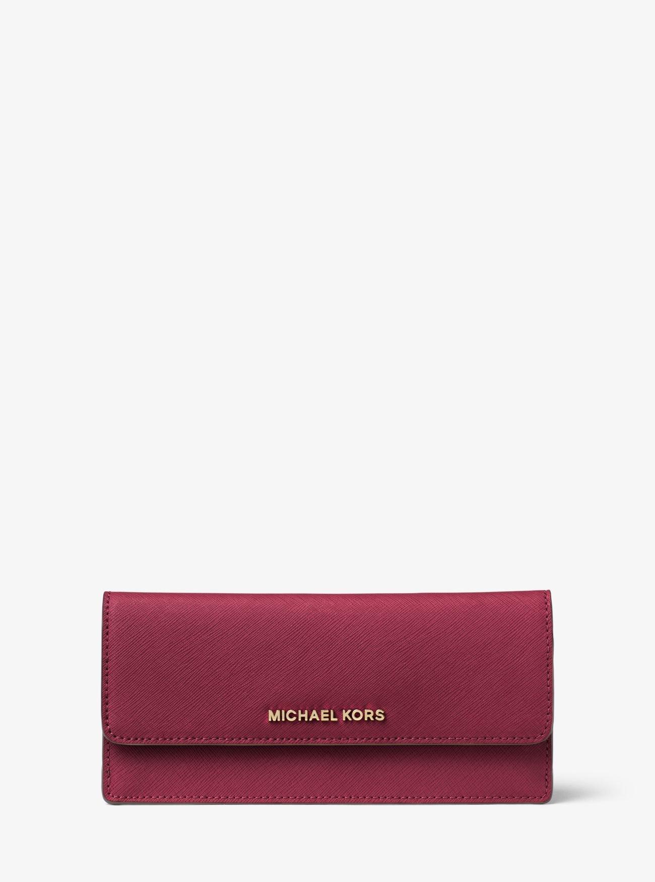 MICHAEL Michael Kors Jet Set Travel Slim Saffiano Leather Wallet, Color Mulberry