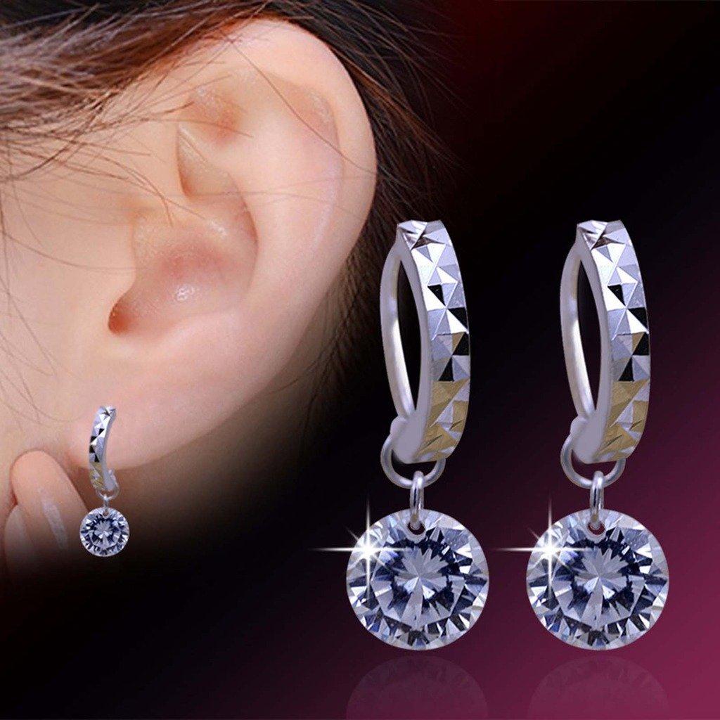 HuntGold 1 Pair Silver Plated Crystal Rhinestone Stud Earrings Hoop