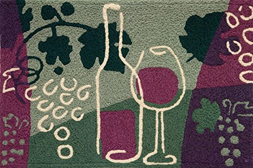 Grapes to Wine Bottle Purples Greens 21 X 33 Inch Area Ac...