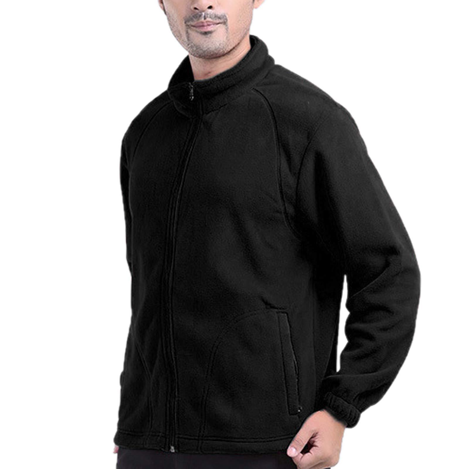 Elonglin Mens Fleece Jacket Full Zip Stand Collar Sportwear Top Outwear Black1 Bust 44.8''(Asie L) by Elonglin