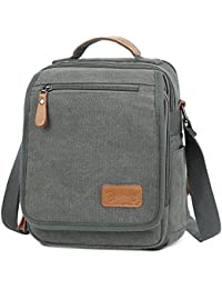 Small Vintage Canvas+Leather Messenger Cross body bag Pack Organizer