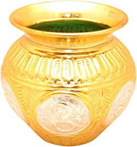 GoldGiftIdeas Gold-Silver Plated Pooja Kalash, Nakshi Lota for Home Temple, Pooja Items for Home, Pooja Thali Set, Housewarming Gift