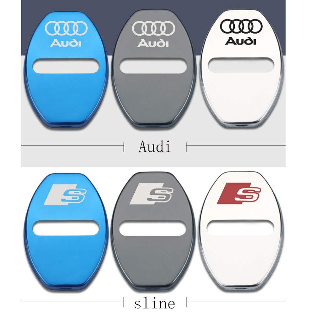 A4L A3 Q3 Q7 A7 A5 Q5L L/&U 4 Piezas de Acero Inoxidable Cerradura de la Puerta Cubierta del Delantero Cubierta del Delantero para Audi A6L Q2L,Silver,Sline
