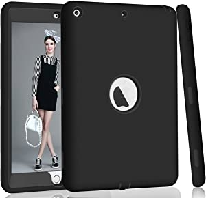 Hocase iPad 5th/6th Generation Case, iPad 9.7 2018/2017 Case, High-Impact Shock Absorbent Dual Layer Silicone+Hard PC Bumper Protective Case for iPad A1893/A1954/A1822/A1823 - Black