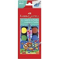 Aquarela em Pastilha com Pincel, Faber-Castell, 19.0012, 12 Cores
