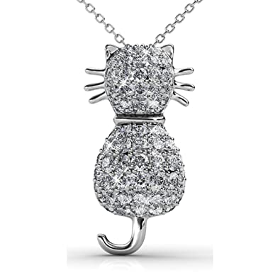 6a3fd96ae23f8 Amazon.com: FAPPAC Cat Pendant Necklace Enriched with Swarovski ...