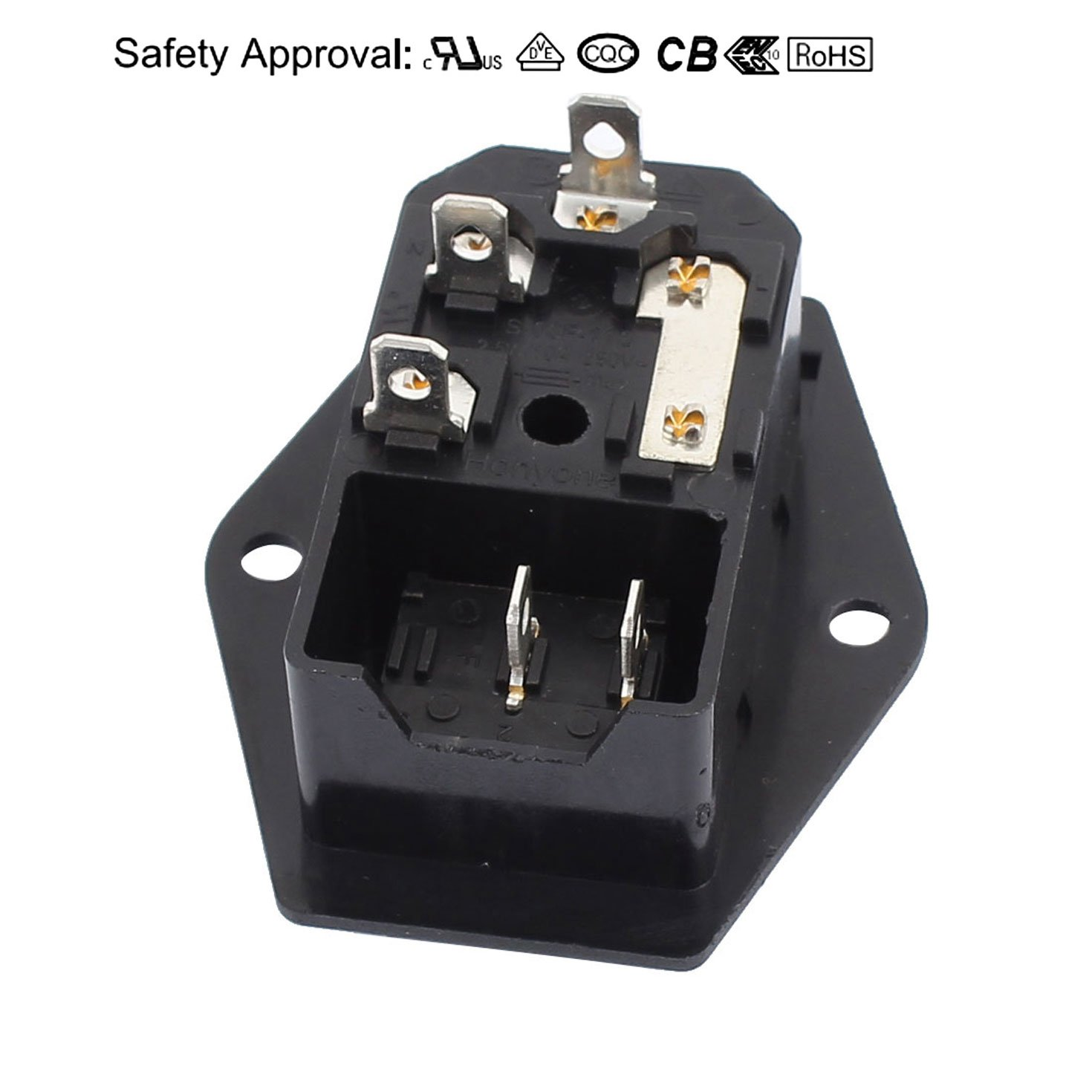 Uxcell 10a 250vac Rocker Switch 3 Terminals Iec320 C14 Inlet Male Iec Power Cord Wiring Free Download Diagram Schematic Connector Light Sockets