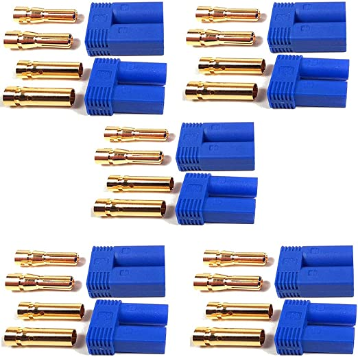 LinsyRC 10Sets EC5 Male Female Connector Adapter 5MM Bullet Banana Gold Connector Plug for RC ESC Lipo Battery