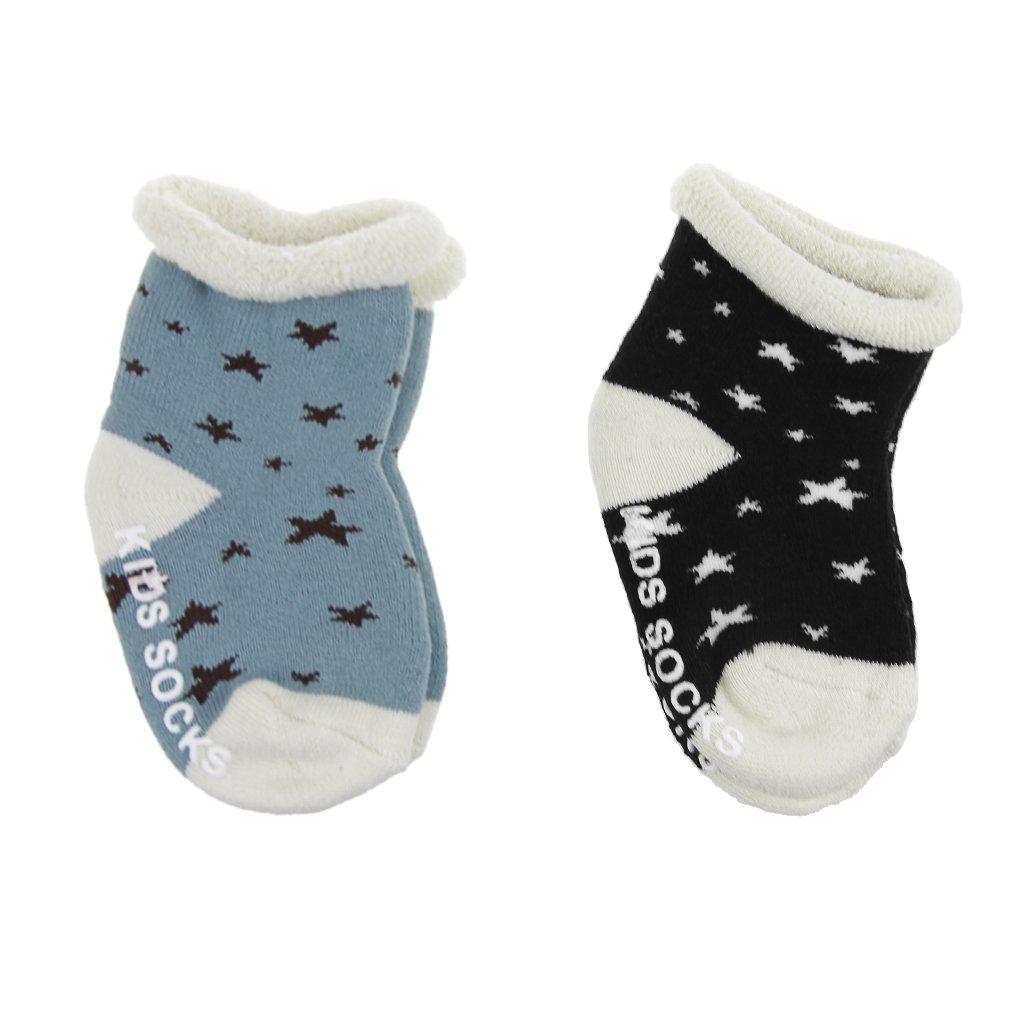 Baby Warm Socks Infant Stars Floor Socks Toddler Girl Boy Anti-Slip Ankle Socks Cartoon Compression Boot Slipper Indoor Elastic Sock with Grips Cotton Knit Walking Sleep Socks for Kid 0-4 Year 2 Pack JIAHGUK