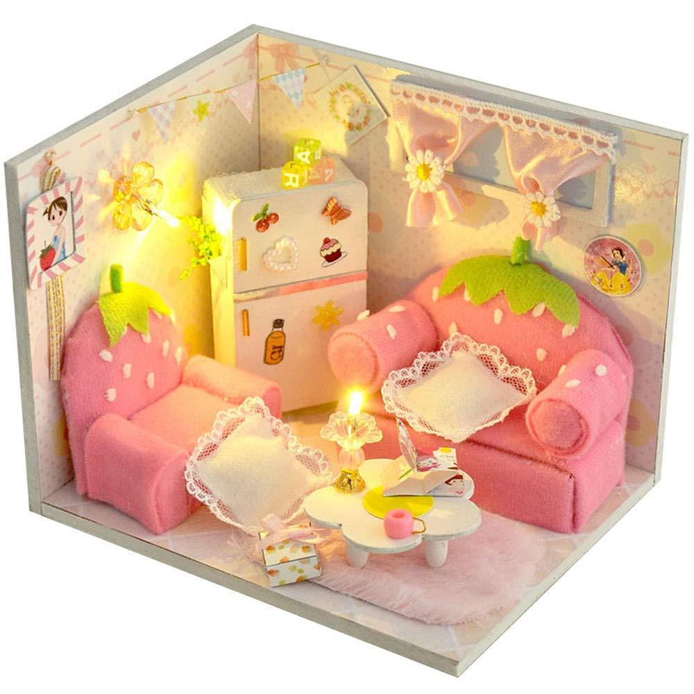 Miniatur DIY Haus Manuelle Montage Modell Haus Kreative Diy Haus Valentinstag Geburtstagsgeschenk Lernspielzeug Holz DIY Dollhouse Mini Handmade Kit Für Mädchen Kabine Märchen Dekoration Haus Weißnach