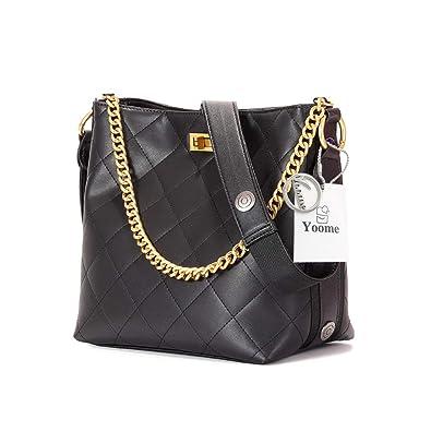 8ad4e43da0e2 Amazon.com  Yoome Women Genuine Leather Quilted Bucket Bags Large Crossbody  Shoulder Hobo Purses Chain Handbags  Shoes