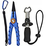Aluminum Fishing Pliers Fish Gripper Braid Cutters Split Ring Pliers Hook Remover with Sheath and Lanyard