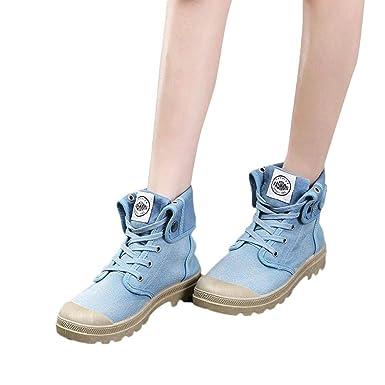 ❤ Zapatos de Lona Mujer de tacón Alto, Botas Estilo Paladio Moda Militar Zapatos de Tobillo Zapatos Casuales Otoño Invierno Absolute: Amazon.es: Ropa y ...