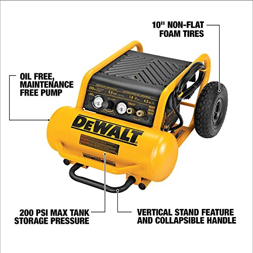 DEWALT Air Compressor, 225-PSI Max, Hand Carry with Wheels, 4-1 2 Gallon D55146