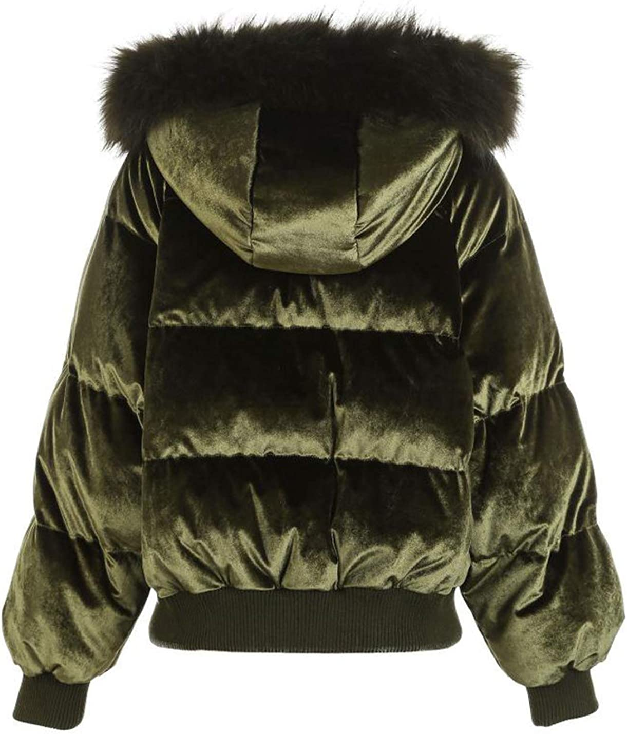 Lentta Womens Slim Fit Thicken Fur Trim at Hood Puffer Parka Fuzzy Short Jacket
