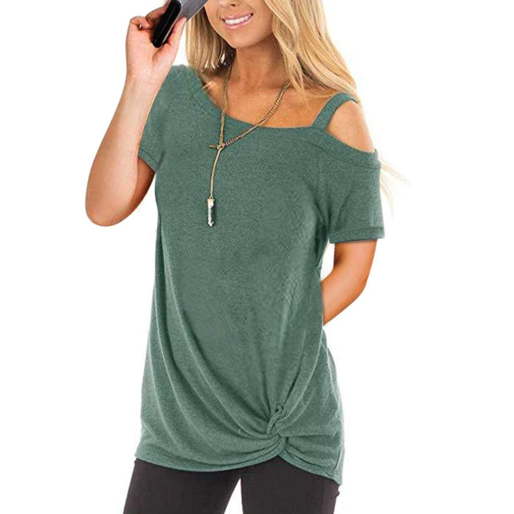 Sunmoot Clearance Sale Summer Blouse for Womens Tunic Tops Spring Cold Shoulder Off Shoulder Cross V-Neck Short Long Sleeve 3/4 Sleeve Sleeveless Knot Front Casual Loose Cotton T-Shirt