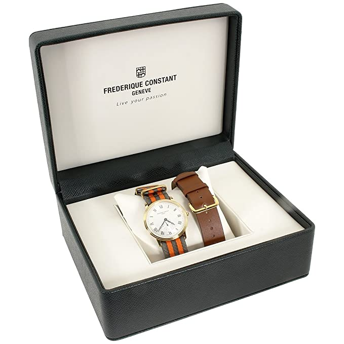Amazon.com: Frederique Constant Slimline Gold Mens Watch FC235M4S5GRYOR + Extra Strap: Hamilton: Watches