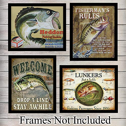 Fishing Posters Wall Art Prints - Set of Four (8X10) Vintage Unframed Reproduction Photos - Great For Fishermen, Home Decor or Gifts - Heddon, Lunkers ()
