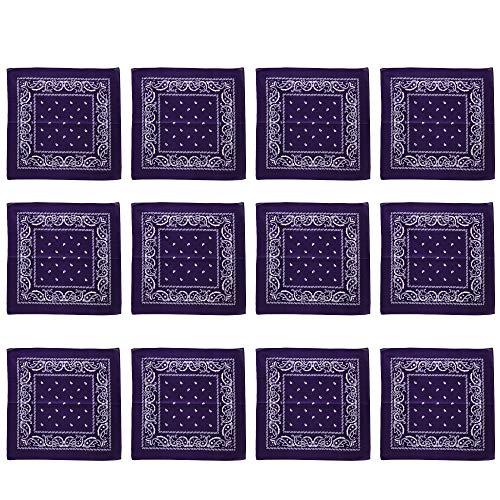 Purple Bandannas 12 Pack Bulk 100%