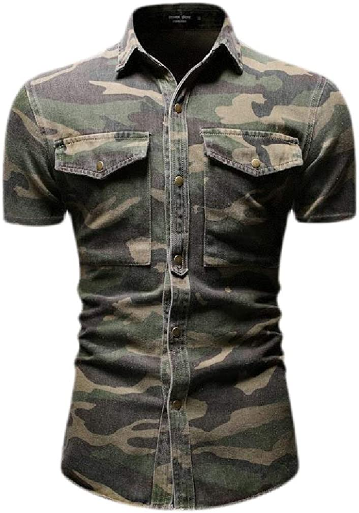 Cromoncent Mens Camo Printed Lapel Neck Short Sleeve Button Down Shirts with Pocket