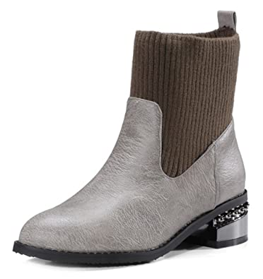 Easemax Femme Classique Petit Talon Low Boots Bottines  Amazon.fr ... 5965b216200c