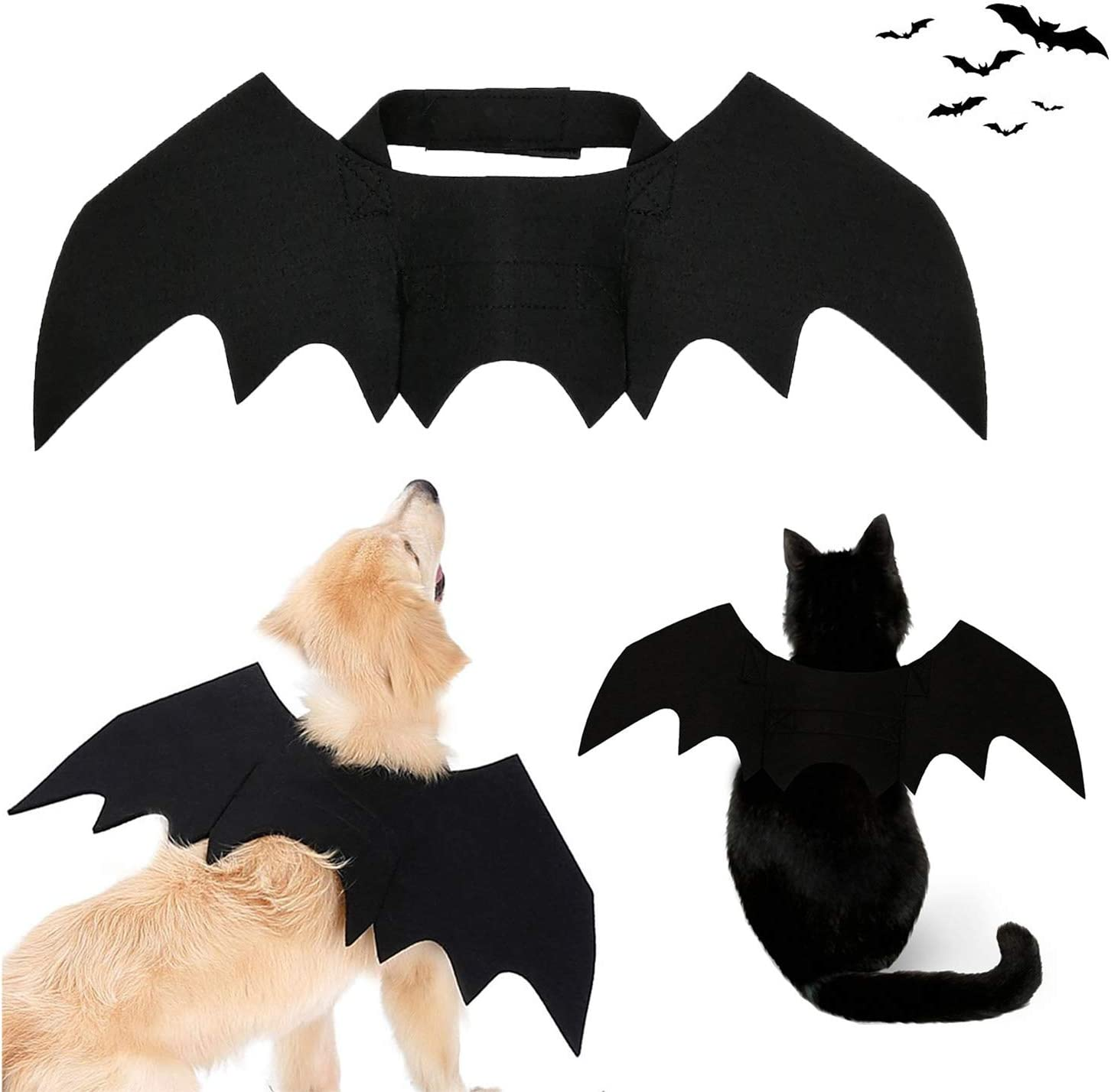 Strangefly Halloween Bat Wings Pet Costume,Party Dress Up Funny Cool Apparel,for Cat and Small Medium Large Dog(L)