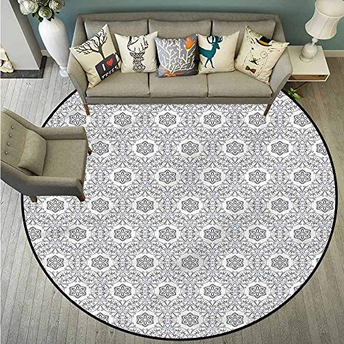 Skid-Resistant Rugs,Floral,Scroll Curls Mosaic Tile,Rustic Home Decor,3'3