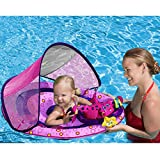 SwimWays Baby Spring Float Activity Center with Sunshade Canopy in Pink